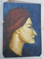Olajfestmény kartonra, extrém karakteres női arccal, Endre420 felhasználónak!