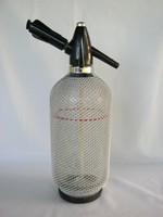 Retro fémhálós üveg szódás szifon