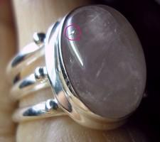925 ezüst gyűrű 18,3/57,5 mm, rózsakvarc
