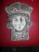 Királynő-fej ,-Zománcozott agyag falidombormű,25 x 18 x 4 cm