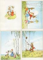 4 db postatiszta húsvéti nyuszis képeslap