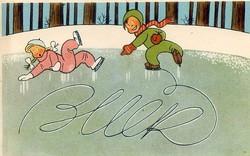 Retro postatiszta, de felbélyegzett újévi képeslap