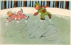 Retro postatiszta újévi képeslap