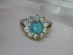 Szépséges régi türkiz és kvarckristály köves ezüst gyűrű