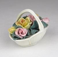0Y048 Régi ENS porcelán rózsás kosár