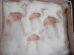 Antik miniatűr rózsaszín üvegkristály púpos teve család eredeti csomagolásban