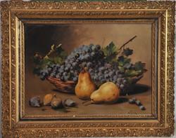 """Antik gyümölcs csendélet, """"Knierim"""" jelz."""