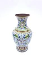 Keleti zománc váza - japán vagy kínai rekeszzoámc díszítésű réz váza