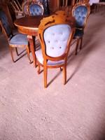 Antik kinyitható asztal 4 barok székkel