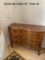 Antik barok háromfiokos intarziás komod