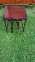 Antik tömör mahagóni szervíz asztalok, lerakó asztal szett
