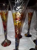 Gyönyörű Pezsgőspoharak Kézzel festett 6db