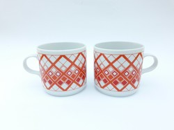 Alföldi retro porcelán bögrék - narancssárga mintás bögre párban