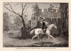 A császárné Wiesbaden közelében, metszet 1889, 16 x 24 cm, Ferenc József, monarchia, újság, lovaglás