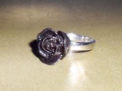 Fekete Korall Rózsa Tibeti ezüst gyűrű 7-es