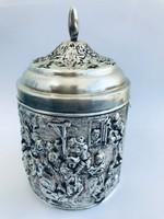 Herman Hooijkaas ezüstözött teás doboz