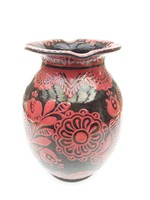 HMV hódmezővásárhelyi Czvalinga kerámia váza - vörös mintás népi majolika váza