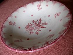 Antik francia rózsaszín madárkás dísztál