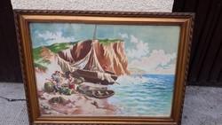 Nagyméretű Olasz Tengerparti Festmény Keretáron