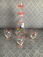Vintage üveg butélia, poharakkal. Kézzel festett.
