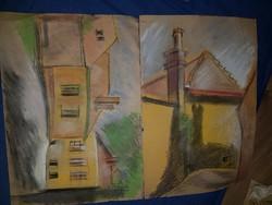 Zseniális színvilágú, grafit és pasztell, 2 db, A4-es festmény
