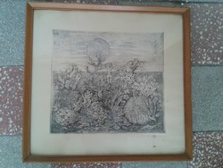ÁBRAHÁM RAFFAEL (1920-2014) SZIGNÁLT  SZÜRREALISTA RÉZKARC KERETEZVE 46X 49 cm +INGYENPOSTA!