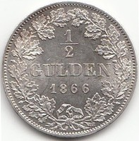 Német 1/2 Gulden Ludwig II. Bayern 1866  AG ezüst !