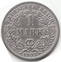 Német 1 MARK 1902J  AG ezüst !