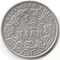 Német fél MARK 1912J  AG ezüst !