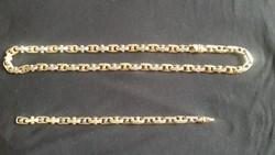 14 karátos fehér és sárga arany nyaklánc,karkötő