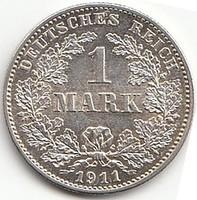 Német 1 MARK 1911G UNC  AG ezüst !