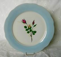 Gyönyörű  porcelán rózsás  tányér, kínáló, kék