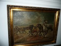 Gyönyörű szép antik olaj-vászon lovas festmény, nagyon szép keretben