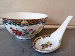 Csodaszép kínai kézzel festett, aranyozott  tálka kanállal