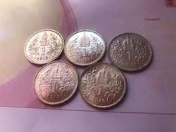 Ezüst 1 korona sor 1912,13,14,15,16 egyben,gyönyörű darabok