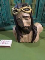 17 x 17 cm-es , régi , festett , kerámia Krisztus fej , Margitsziget jelzéssel .