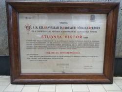 Oklevél a Magyar királyi bányászati és erdészeti főiskolától keretezett