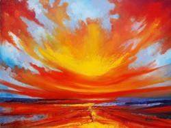Vörös naplemente olajfestmény szép keretben ingyenes házhoz szállítással