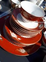 6db-os porcelán teás és süteményes készlet