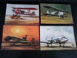 4db régi repülős képeslap óbuda