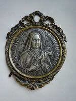 Régi Szent Teréz vallásos kép, aranyozott réz keretben ezüst ötvözet