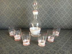 Retro festett üveg butélia poharaival - készlet