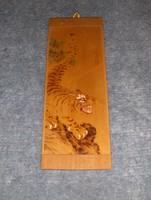 Égetett mintás fali fa kép tigris ábrázolással 10*27 cm (24/d)