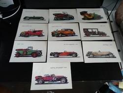 10db régi autós képeslap posta tiszta korának megfelelő eladó óbudán