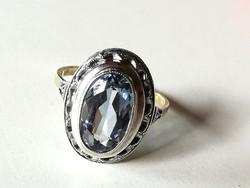 Antik arany és ezüst gyűrű akvamarin kővel (8k)