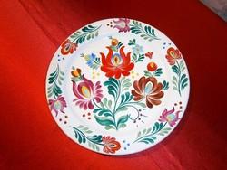 Kézzel festett virág mintás Bodrogkeresztúri kerámia nagy fali tál, tányér 24 cm