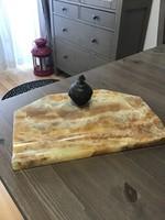 Antik ónix asztali irószertartó bronz kalamárissal