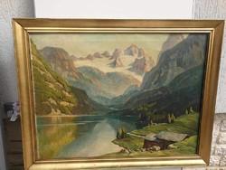 Tájkép Tátra vagy Alpok.Havasok táj P.Thaller szignóval