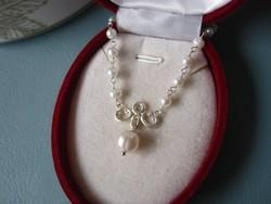 Jelzett 925 ezüst collier gyöngysor - nyaklánc, nyakék