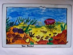 Vass Anikó: Vízalatti világ - üvegfestmény 38,5 x 24 cm. Jelzett